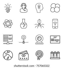 Thin line icon set : bulb, call center, head, atom core, round flask, virus, phone wireless, server, laser, web cam, invoice, earth, credit card, elecric oven, grain elevator