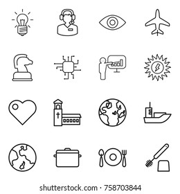 Thin line icon set : bulb, call center, eye, plane, chess horse, chip, presentation, sun power, heart, church, globe, sea shipping, earth, pan, fork spoon plate, toilet brush