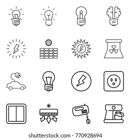 Thin line icon set : bulb, brain, lightning, sun power, nuclear, electric car, electricity, socket, switch, air conditioning, mixer, coffee maker