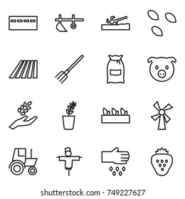 thin line icon set : bunker, plow, soil cutter, seeds, field, fork, flour, pig, harvest, seedling, windmill, tractor, scarecrow, sow, strawberry