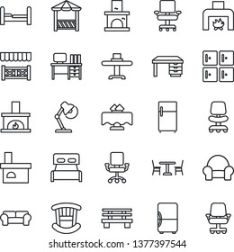 Thin Line Icon Set - cafe vector, checkroom, office chair, desk, bench, fireplace, lamp, bedroom, children room, cushioned furniture, restaurant table, alcove, fridge