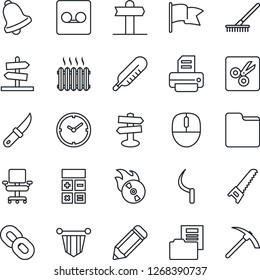 Thin Line Icon Set - calculator vector, pennant, mouse, pencil, printer, rake, saw, sickle, garden knife, thermometer, signpost, flame disk, chain, bell, record, folder, cut, clock, document, heater