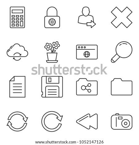 Thin Line Icon Set Calculator Vector Stock Vector (Royalty