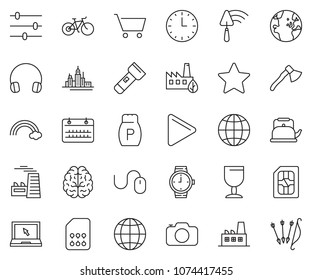 thin line icon set - calendar vector, mouse, globe, notebook, factory, watch, downtown, trowel, headphones, pepper, cup, rainbow, eco, sim card, brain, settings, time, play, star, cart, torch, bike
