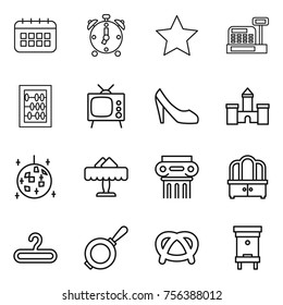 Thin line icon set : calendar, alarm clock, star, cashbox, abacus, tv, shoes, castle, disco ball, restaurant, antique column, dresser, hanger, pan, pretzel, hive