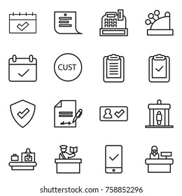 Thin line icon set : calendar, shopping list, cashbox, terms, customs, clipboard, check, protected, inventory, in, detector, baggage checking, inspector, mobile, reception