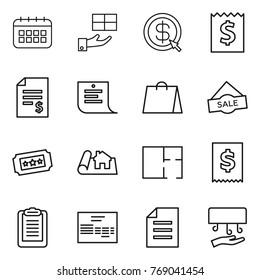 Thin line icon set : calendar, gift, dollar arrow, receipt, account balance, shopping list, bag, sale, ticket, project, plan, tax, clipboard, invoice, document, hand dryer