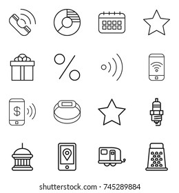 Thin Line Icon Set Phone Circle Stock Vector (Royalty Free