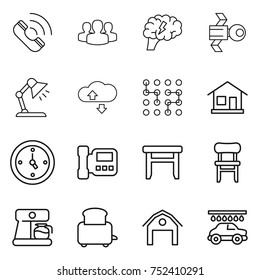 thin line icon set : call, group, brain, satellite, table lamp, cloude service, chip, home, watch, intercome, stool, chair, coffee maker, toaster, barn, car wash