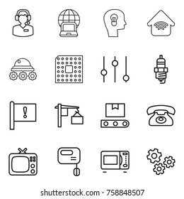 Thin line icon set : call center, notebook globe, bulb head, wireless home, lunar rover, cpu, equalizer, spark plug, important flag, loading, transporter tape, phone, tv, mixer, microwave oven