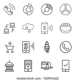 Thin line icon set : call, circle diagram, notebook connect, cloude service, phone pay, smart bracelet, add to cart, mobile, spark plug, goverment house, location, trailer, checking