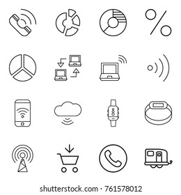 Thin line icon set : call, circle diagram, percent, notebook connect, wireless, phone, cloud, smart watch, bracelet, antenna, add to cart, trailer