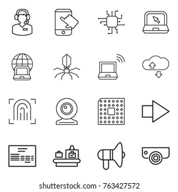 Thin line icon set : call center, touch, chip, notebook, globe, virus, wireless, cloude service, fingerprint, web cam, cpu, right arrow, invoice, baggage checking, loudspeaker, surveillance camera