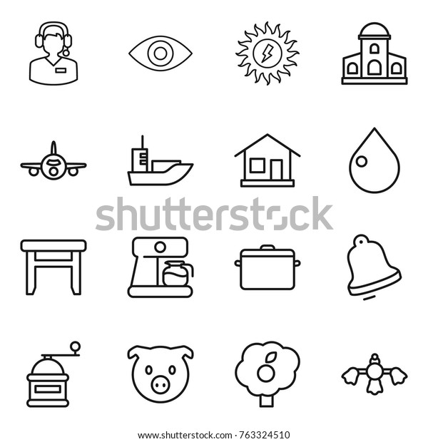 Prime Thin Line Icon Set Call Center Stock Vector Royalty Free Pabps2019 Chair Design Images Pabps2019Com