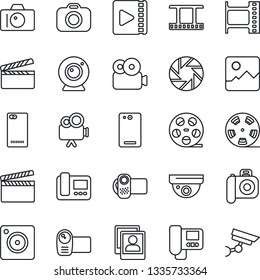 Thin Line Icon Set - camera vector, clapboard, film frame, reel, video, phone back, mobile, gallery, photo, web, intercome, surveillance