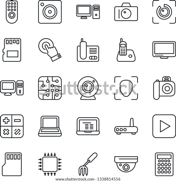 Thin Line Icon Set Camera Vector Stock Vector (Royalty Free