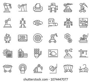 thin line icon set - card reader vector, printer, calculator gear, atm, concrete mixer, plate compactor, welding machine, oil jack, mine trolley, conveyor, cunstruction crane, manufacture robot