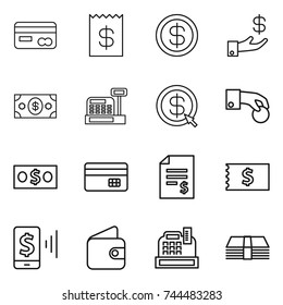 thin line icon set : card, receipt, dollar, investment, money, cashbox, arrow, hand coin, credit, account balance, mobile pay, wallet