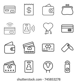thin line icon set : card, receipt, wallet, purse, tap to pay, pass, cardio chip, credit, label, identity, sheep, do not distrub