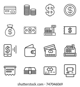 thin line icon set : card, coin stack, dollar, money bag, cashbox, receipt, mobile pay, wallet, credit, atm