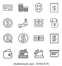 thin line icon set : card, coin stack, dollar, receipt, investment, money, gift, arrow, wallet, cashbox, atm