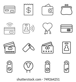 thin line icon set : card, receipt, wallet, purse, tap to pay, pass, cardio chip, credit, label, identity, do not distrub, sheep, please clean