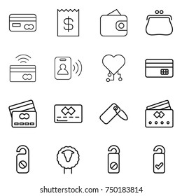 thin line icon set : card, receipt, wallet, purse, tap to pay, pass, cardio chip, credit, label, do not distrub, sheep, please clean