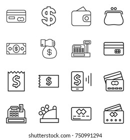 thin line icon set : card, dollar, wallet, purse, money, gift, cashbox, credit, receipt, mobile pay