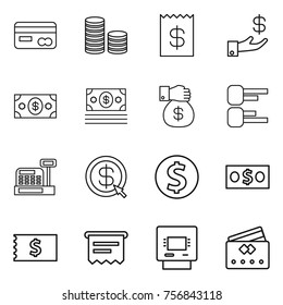 Thin line icon set : card, coin stack, receipt, investment, money, gift, diagram, cashbox, dollar arrow, atm, credit