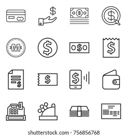 Thin line icon set : card, investment, money, dollar arrow, crypto currency, coin, receipt, account balance, mobile pay, wallet, cashbox, invoice