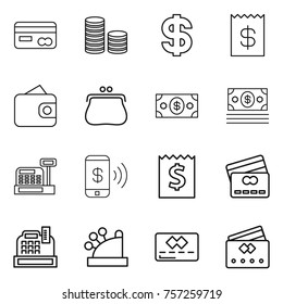 Thin line icon set : card, coin stack, dollar, receipt, wallet, purse, money, cashbox, phone pay, credit
