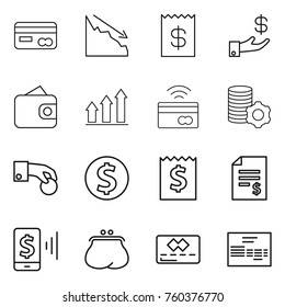 Thin line icon set : card, crisis, receipt, investment, wallet, graph up, tap to pay, virtual mining, hand coin, dollar, account balance, mobile, purse, credit, invoice