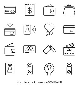 Thin line icon set : card, receipt, wallet, purse, tap to pay, pass, cardio chip, credit, label, identity, do not distrub, sheep