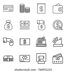 Thin line icon set : card, coin stack, receipt, wallet, money bag, gift, dollar arrow, hand, cashbox, credit, atm