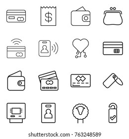 Thin line icon set : card, receipt, wallet, purse, tap to pay, pass, cardio chip, credit, label, atm, identity, sheep, please clean