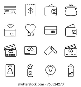 Thin line icon set : card, receipt, wallet, purse, tap to pay, cardio chip, credit, label, identity, do not distrub, sheep, please clean