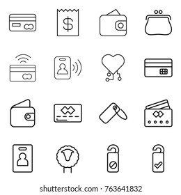 Thin line icon set : card, receipt, wallet, purse, tap to pay, pass, cardio chip, credit, label, identity, sheep, do not distrub, please clean