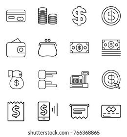 Thin line icon set : card, coin stack, dollar, wallet, purse, money, gift, diagram, cashbox, arrow, receipt, mobile pay, atm, credit