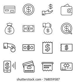 Thin line icon set : card, dollar, investment, wallet, money bag, gift, arrow, hand coin, receipt, mobile pay, credit, atm