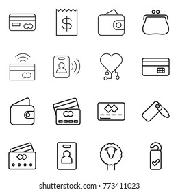 Thin line icon set : card, receipt, wallet, purse, tap to pay, pass, cardio chip, credit, label, identity, sheep, please clean