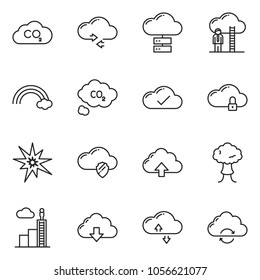 thin line icon set - career ladder vector, cloud check, server, shield, lock, exchange, rainbow, co2, bang, download, upload, refresh