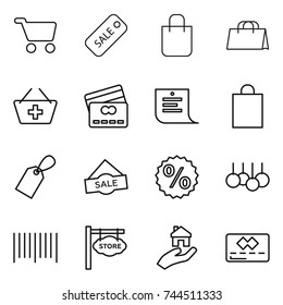thin line icon set : cart, sale, shopping bag, add to basket, credit card, list, label, percent, bar code, store signboard, real estate