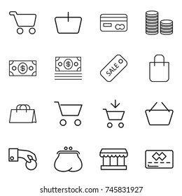 thin line icon set : cart, basket, card, coin stack, money, sale, shopping bag, add to, hand, purse, market, credit