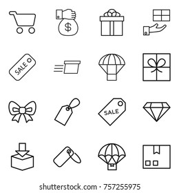 Thin line icon set : cart, money gift, sale, delivery, parachute, bow, label, diamond, package