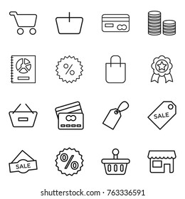 Thin line icon set : cart, basket, card, coin stack, annual report, percent, shopping bag, medal, remove from, credit, label, sale, shop