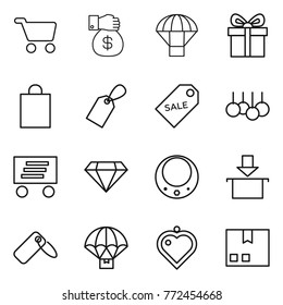 Thin line icon set : cart, money gift, parachute, shopping bag, label, sale, delivery, diamond, necklace, package, heart pendant