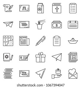 thin line icon set - cash vector, check, calendar, pen, train ticket, newspaper, list, paper plane, ship, wallpaper, milk, Chinese food, holy bible, logbook, book, clipboard, gift, love note