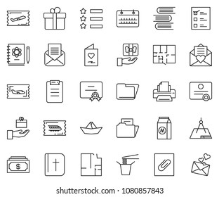 thin line icon set - cash vector, calendar, folder, certificate, printer, fly ticket, train, paper ship, plan, milk, Chinese food, holy bible, star ribbon, vote, draw, plane, logbook, book, gift