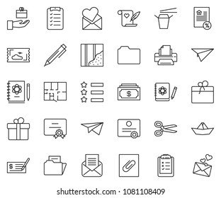 thin line icon set - cash vector, check, pen, certificate, mortgage, printer, clipboard list, scissors, paper ship, wallpaper, plan, Chinese food, star ribbon, plane, ticket, logbook, opened mail