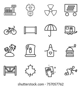 Thin line icon set : cashbox, bulb brain, nuclear, delivery, bike, fence, dry cargo, trailer, island, kettle, apron, hand mill, farm, maple leaf, wiping, vacuum cleaner